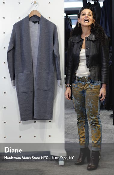 Open Front Double Face Wool Blend Long Cardigan, sales video thumbnail