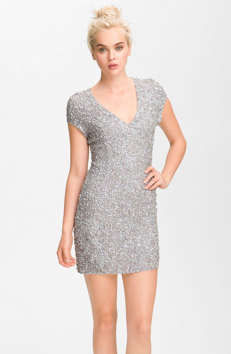 PARKER Embellished Short Sleeve V-Neck Dress, Main, color, HAZE