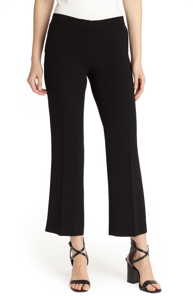 LAFAYETTE 148 NEW YORK Manhattan Finesse Crepe Crop Flare Pants, Main, color, BLACK