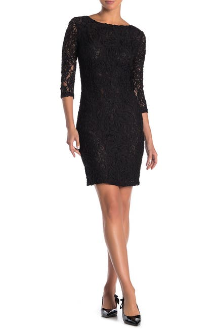 Image of FRNCH Elbow Sleeve Lace Dress