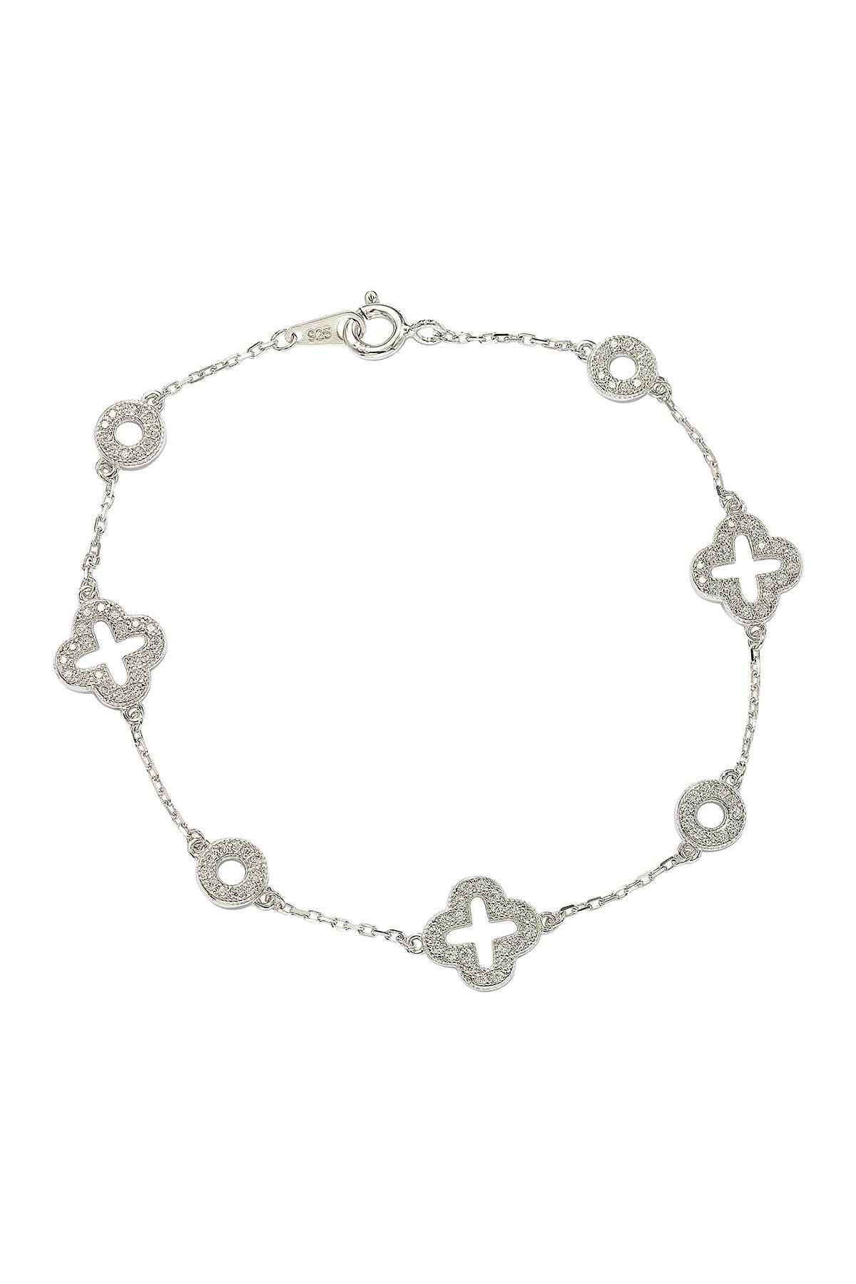 Image of Suzy Levian Sterling Silver CZ Clover Tennis Bracelet