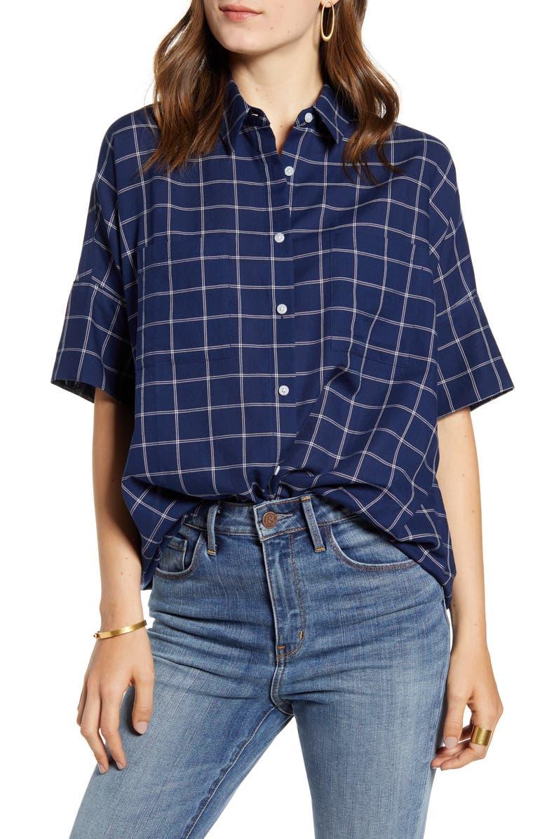 MADEWELL Courier Double Windowpane Shirt, Main, color, DOUBLE WINDOW DARK MIDNIGHT