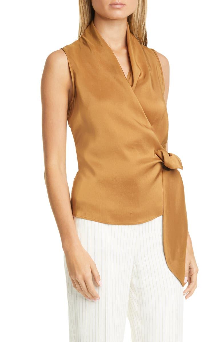 MAX MARA Elce Sleeveless Silk Wrap Top, Main, color, 210