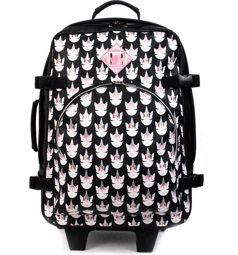OMG Whimsical Unicorn Print Rolling Suitcase, Main, color, BLACK