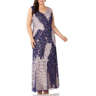 Plus Size Js Collections Two-Tone Embroidered Leaf Gown