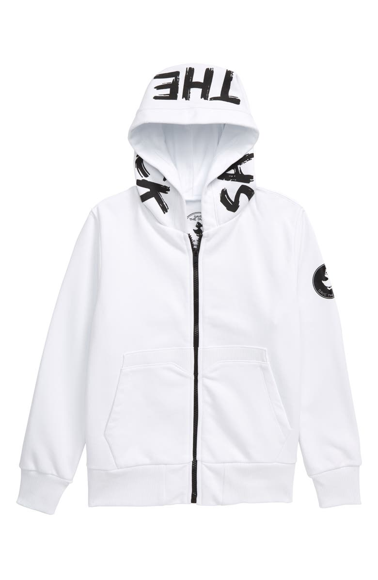 SAVE THE DUCK Fleece Zip Hoodie, Main, color, WHITE