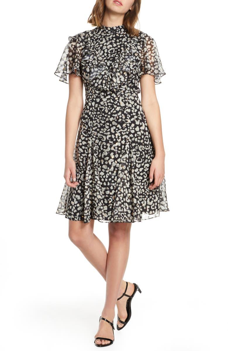 ELIZA J Ruffled Fit & Flare Dress, Main, color, ANIMAL