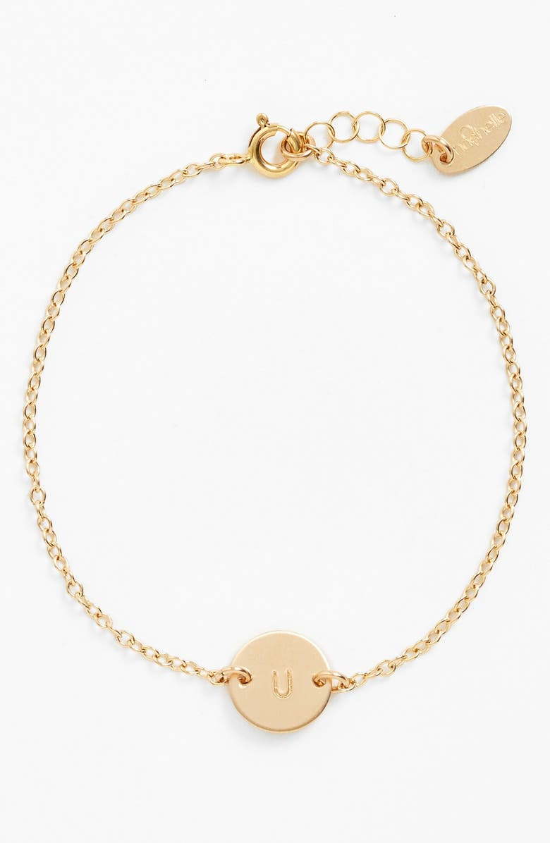 NASHELLE Initial Mini Disc Bracelet, Main, color, 14K GOLD FILL U