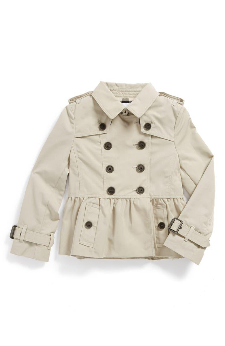 BURBERRY 'Mini Rushcourt' Trench Coat, Main, color, 250