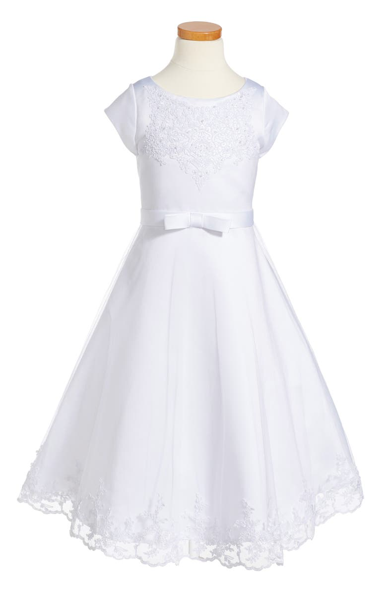 US ANGELS Embroidered A-Line Dress, Main, color, WHITE