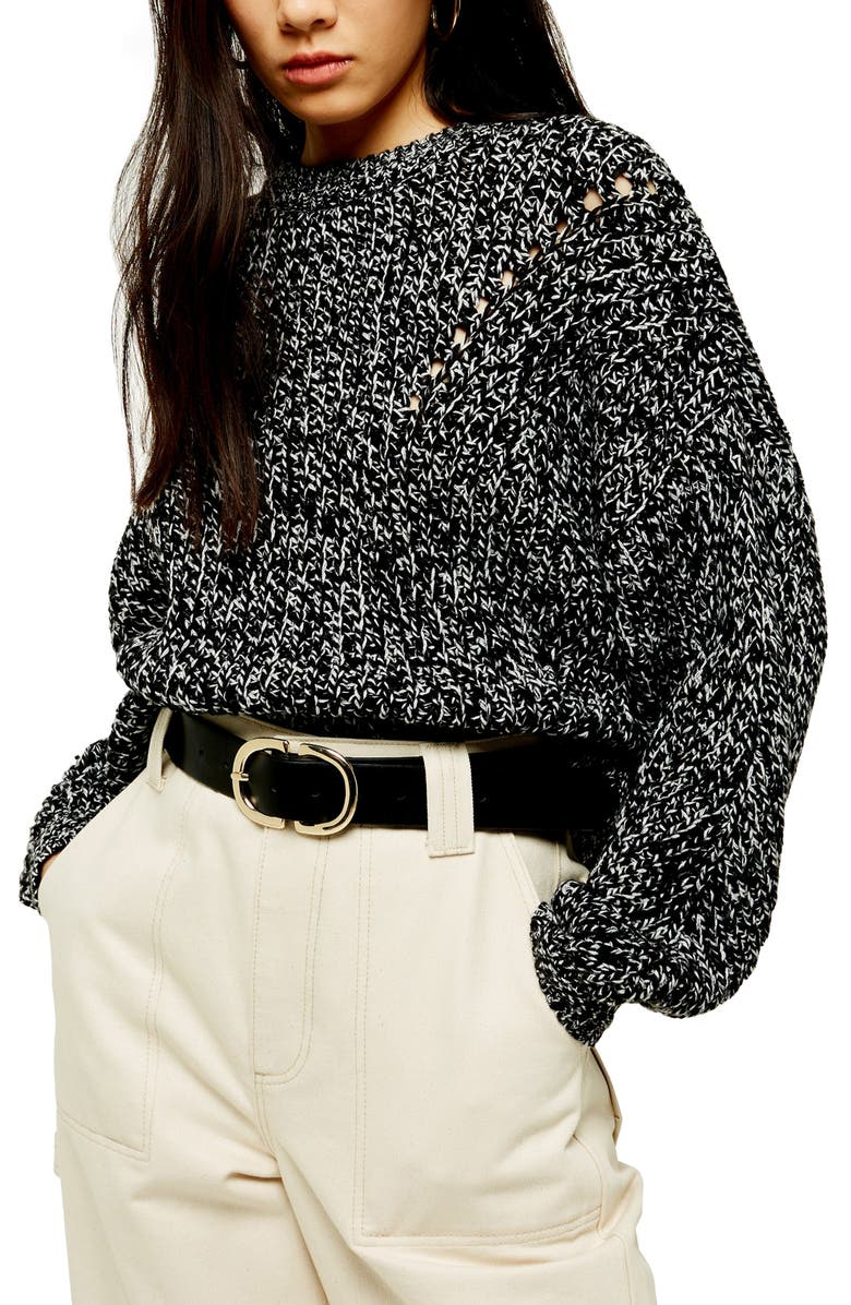 TOPSHOP Chunky Pointelle Sweater, Main, color, BLACK