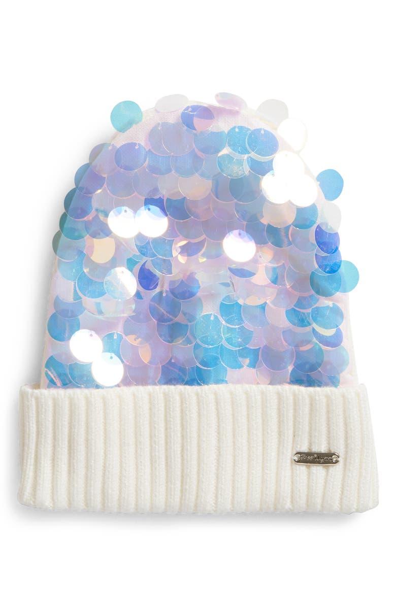 BARI LYNN Paillette Sequin Hat, Main, color, IVORY