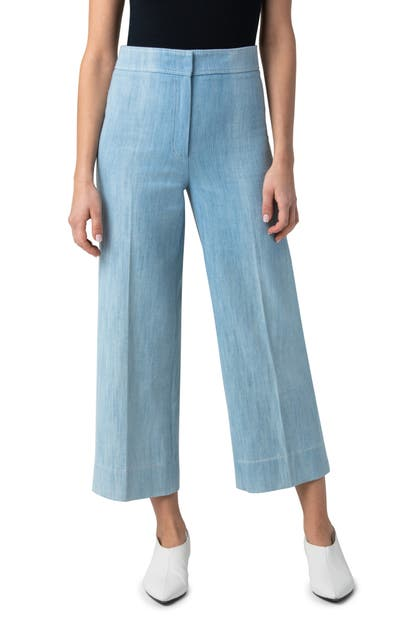 AKRIS PUNTO CHIEKO WASHED DENIM CROP PANTS