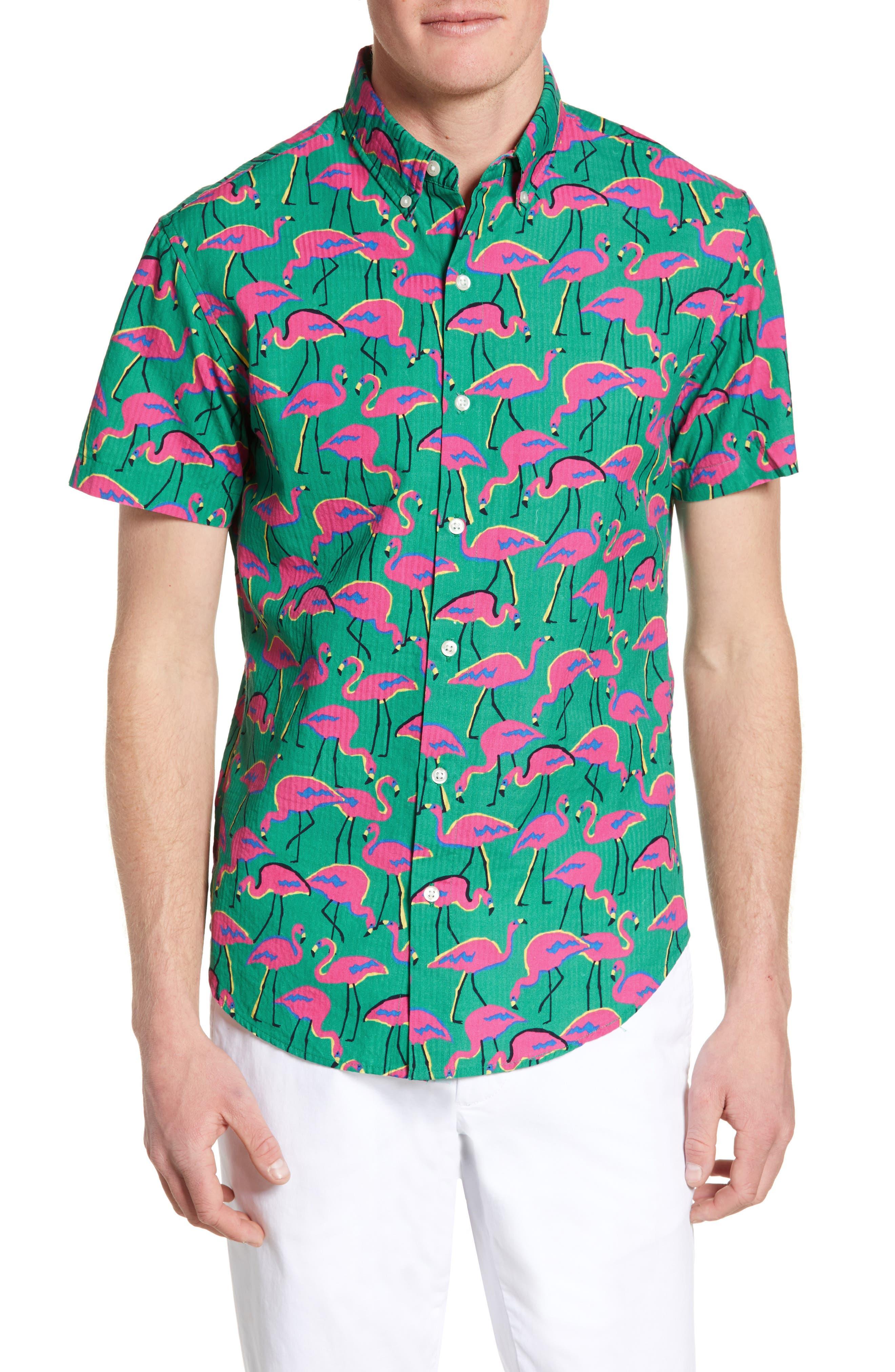 ,                             Riviera Slim Fit Flamingo Print Sport Shirt,                             Main thumbnail 1, color,                             LOOK FLAMINGOS
