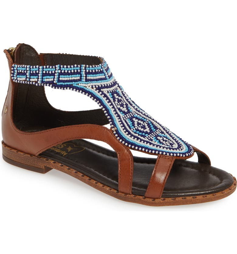 PIKOLINOS Algar Beaded Sandal, Main, color, CUERO LEATHER