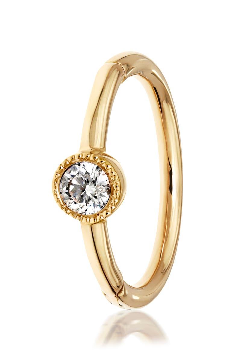 MARIA TASH Scalloped Diamond Clicker Earring, Main, color, YELLOW GOLD