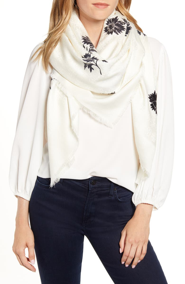 TORY BURCH Floral Print Wool & Silk Scarf, Main, color, 900