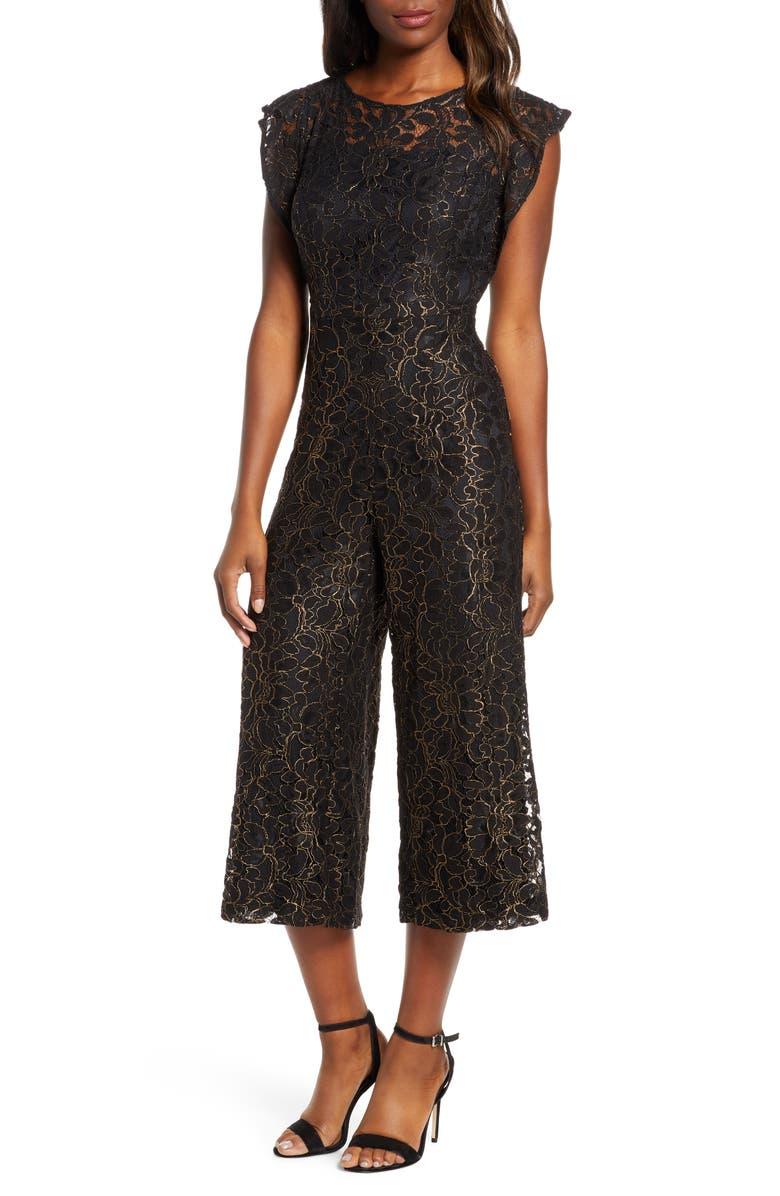 DONNA RICCO Flounce Sleeve Lace Jumpsuit, Main, color, 006