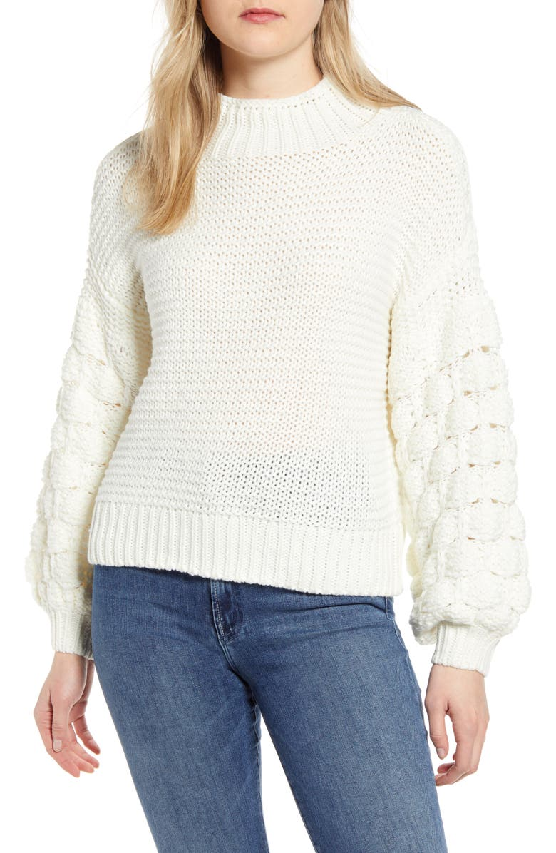 RD STYLE Bubble Sleeve Mock Neck Sweater, Main, color, 110