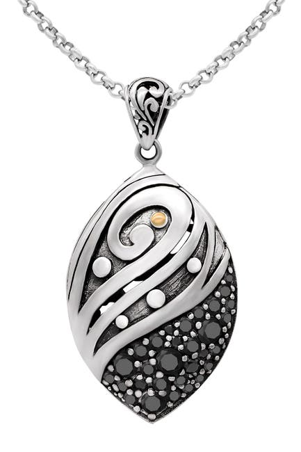Image of DEVATA Sterling Silver & 18K Gold Black Spinel Pendant Necklace