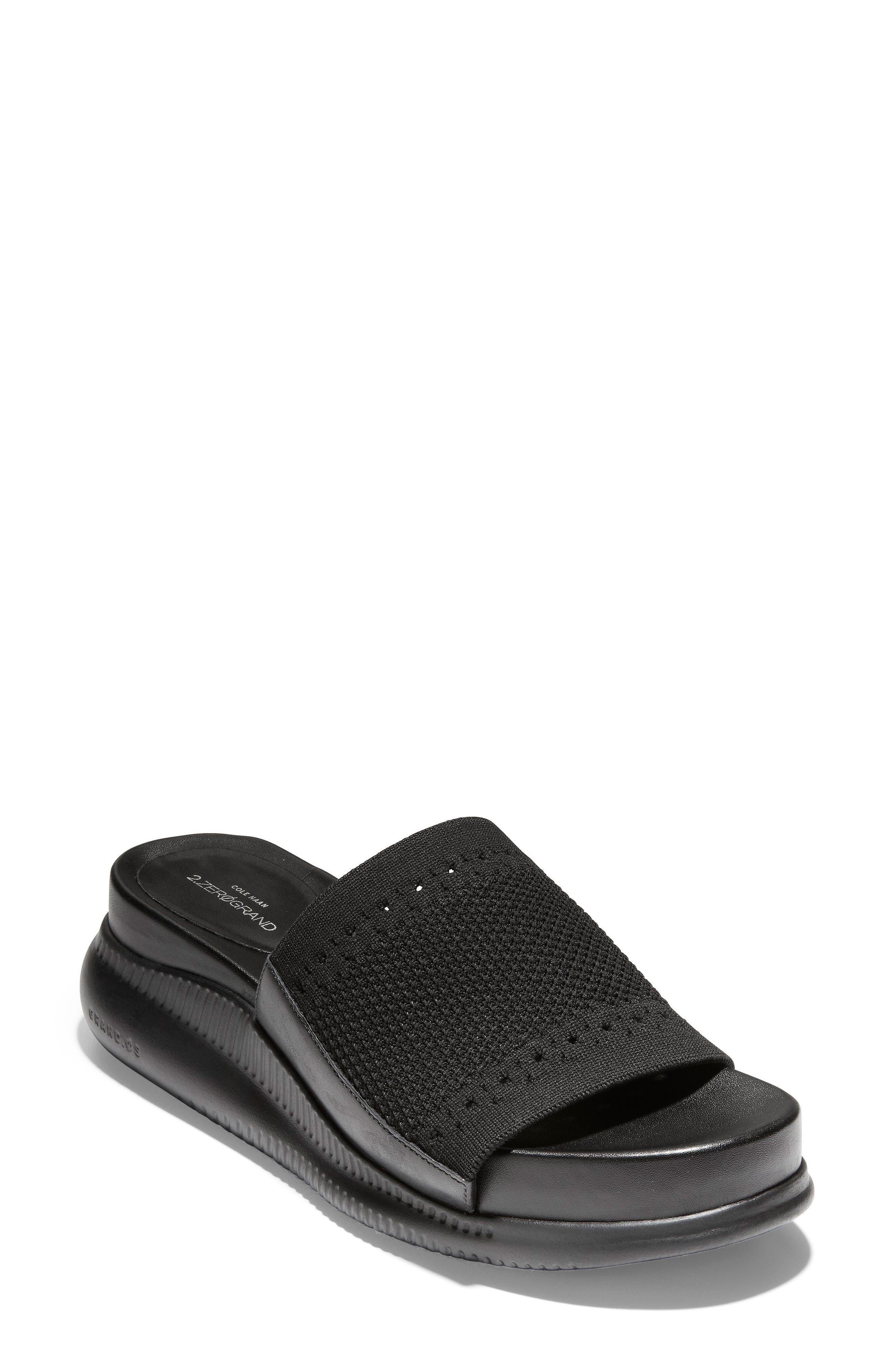 ,                             2.Zerogrand Stitchlite<sup>™</sup> Slide Sandal,                             Main thumbnail 1, color,                             BLACK LEATHER