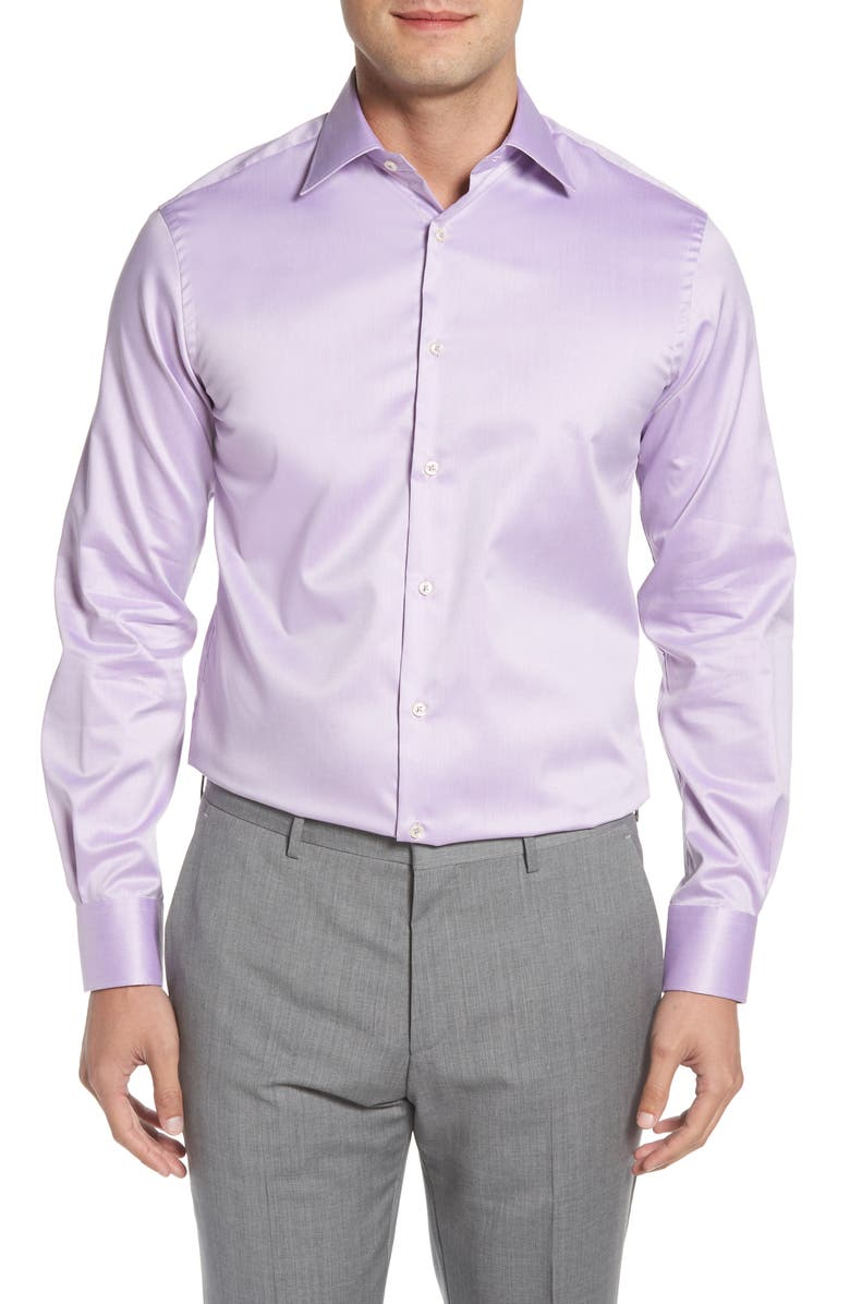 IKE BEHAR Classic Fit Solid Dress Shirt, Main, color, PURPLE
