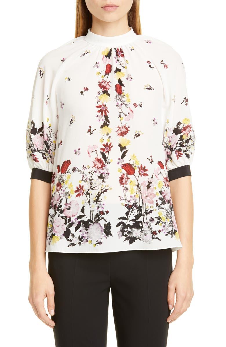 ERDEM Nayla Tavistock Floral Print Silk Blouse, Main, color, 100