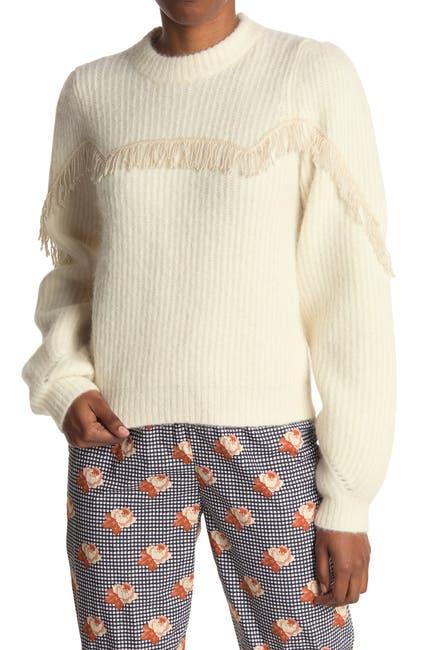 Image of GANNI Soft Wool Fringe Puff Sleeve Blouse