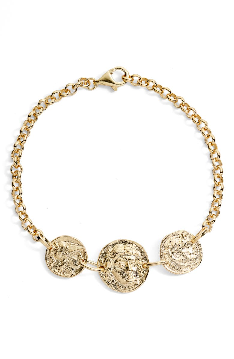 ADINA'S JEWELS Triple Coin Rolo Bracelet, Main, color, 710