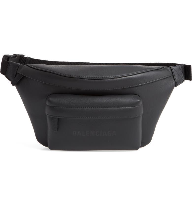 BALENCIAGA Everyday Logo Leather Belt Bag, Main, color, BLACK