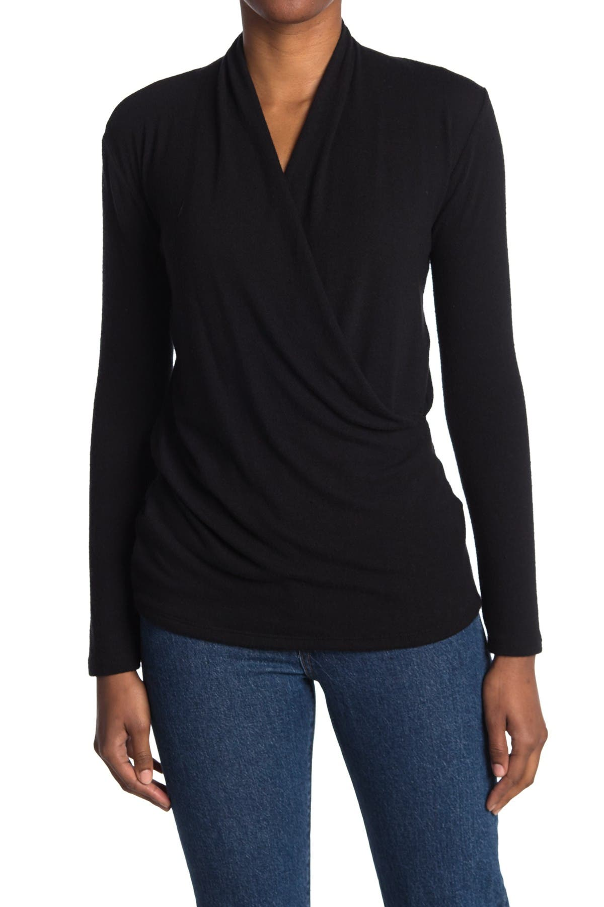 Image of Go Couture Surplice Wrap Style Sweater