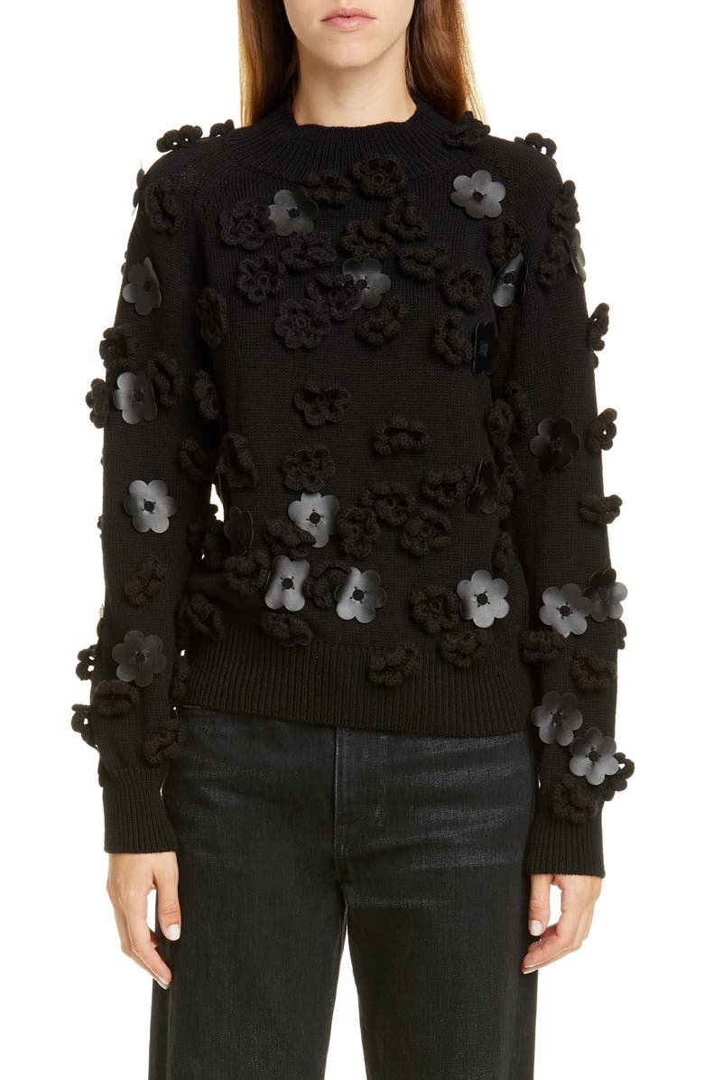 PASKAL Floral Appliqué Sweater, Main, color, BLACK