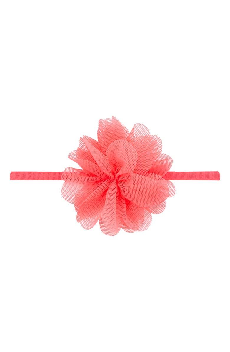 PLH BOWS & Laces Mesh Floral Head Wrap, Main, color, CORAL