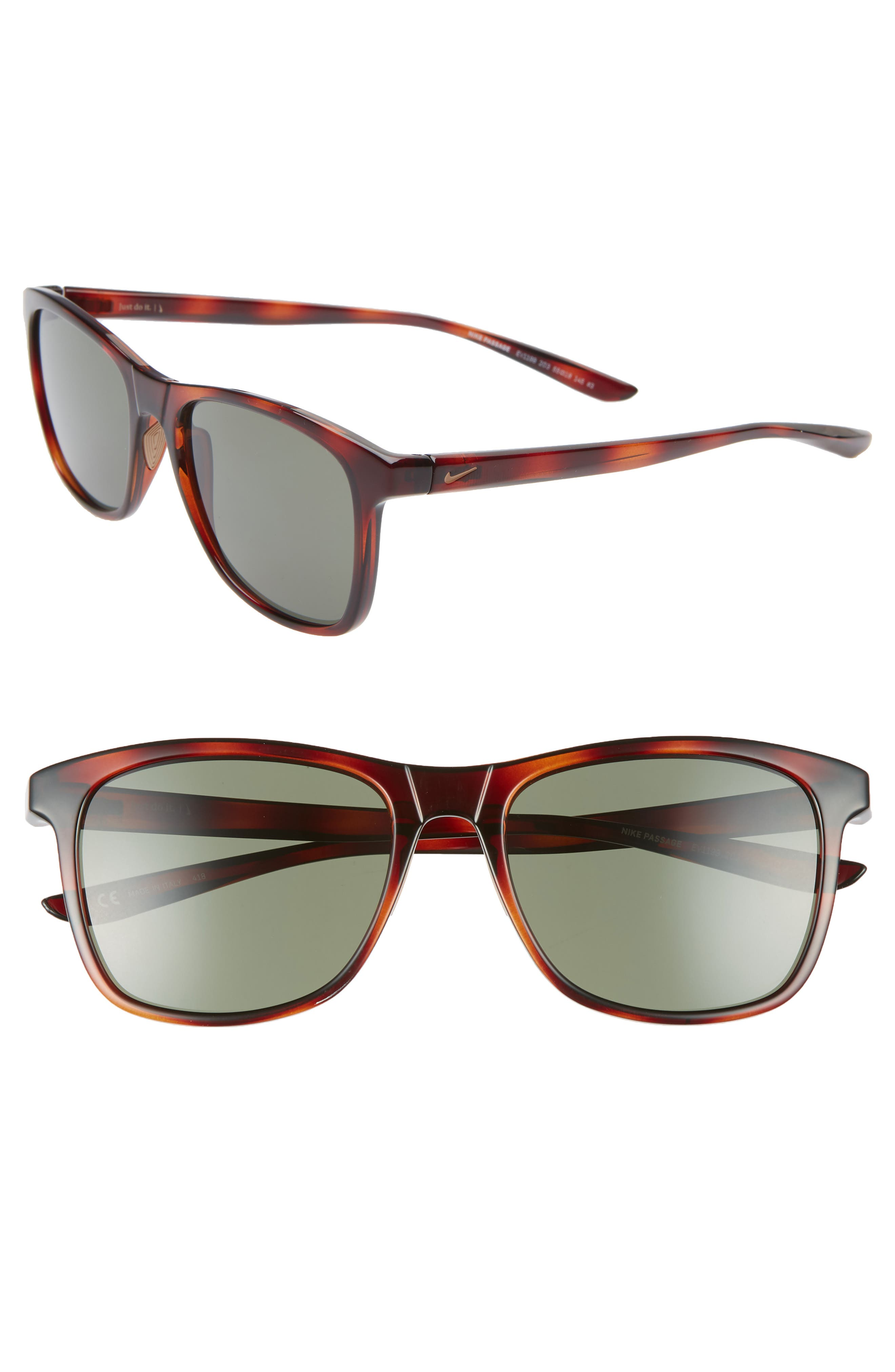 Nike Passage 55Mm Square Sunglasses - Tortoise/ Green