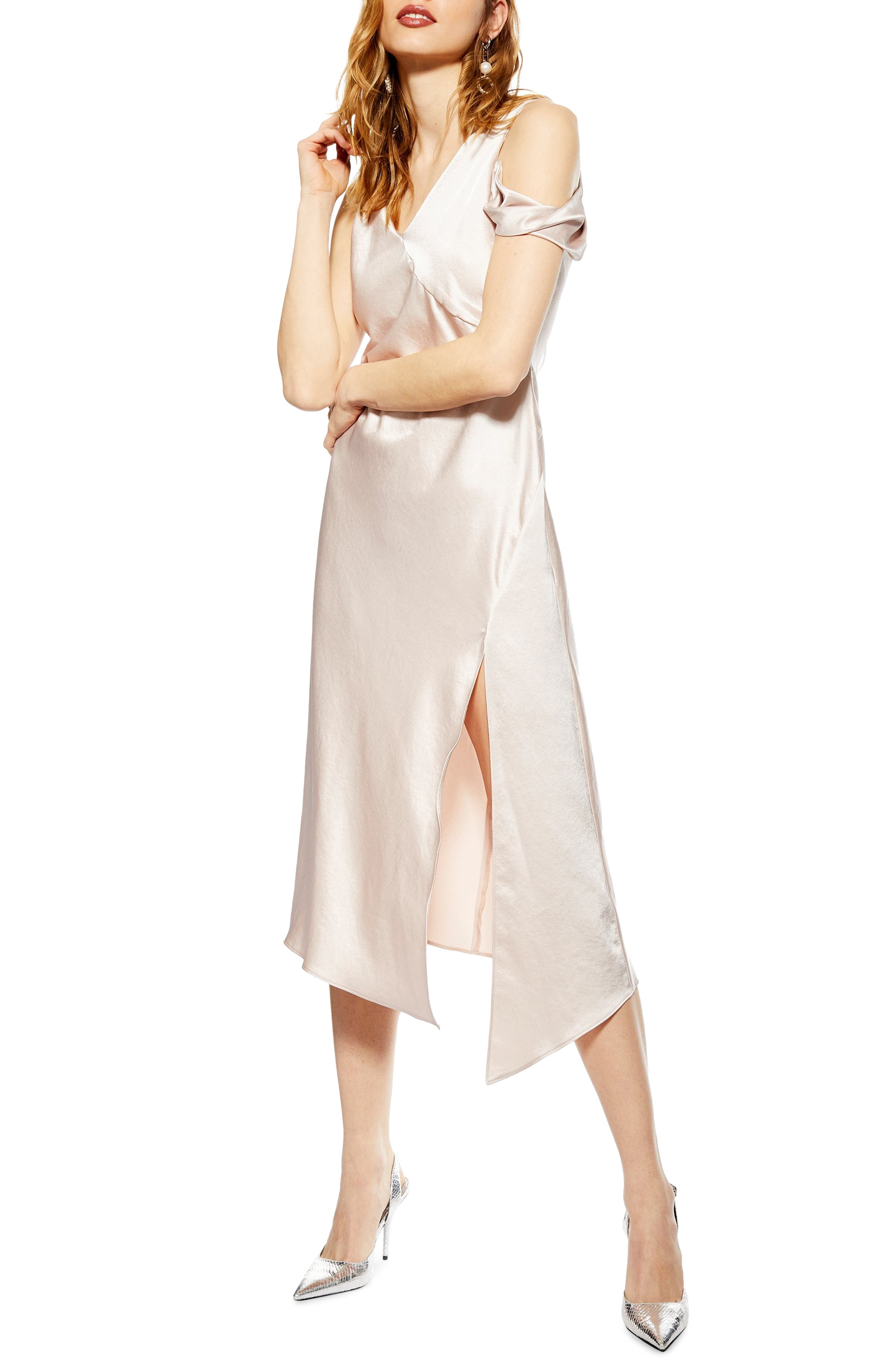 Topshop Twist Shoulder Midi Dress, US (fits like 0) - Beige