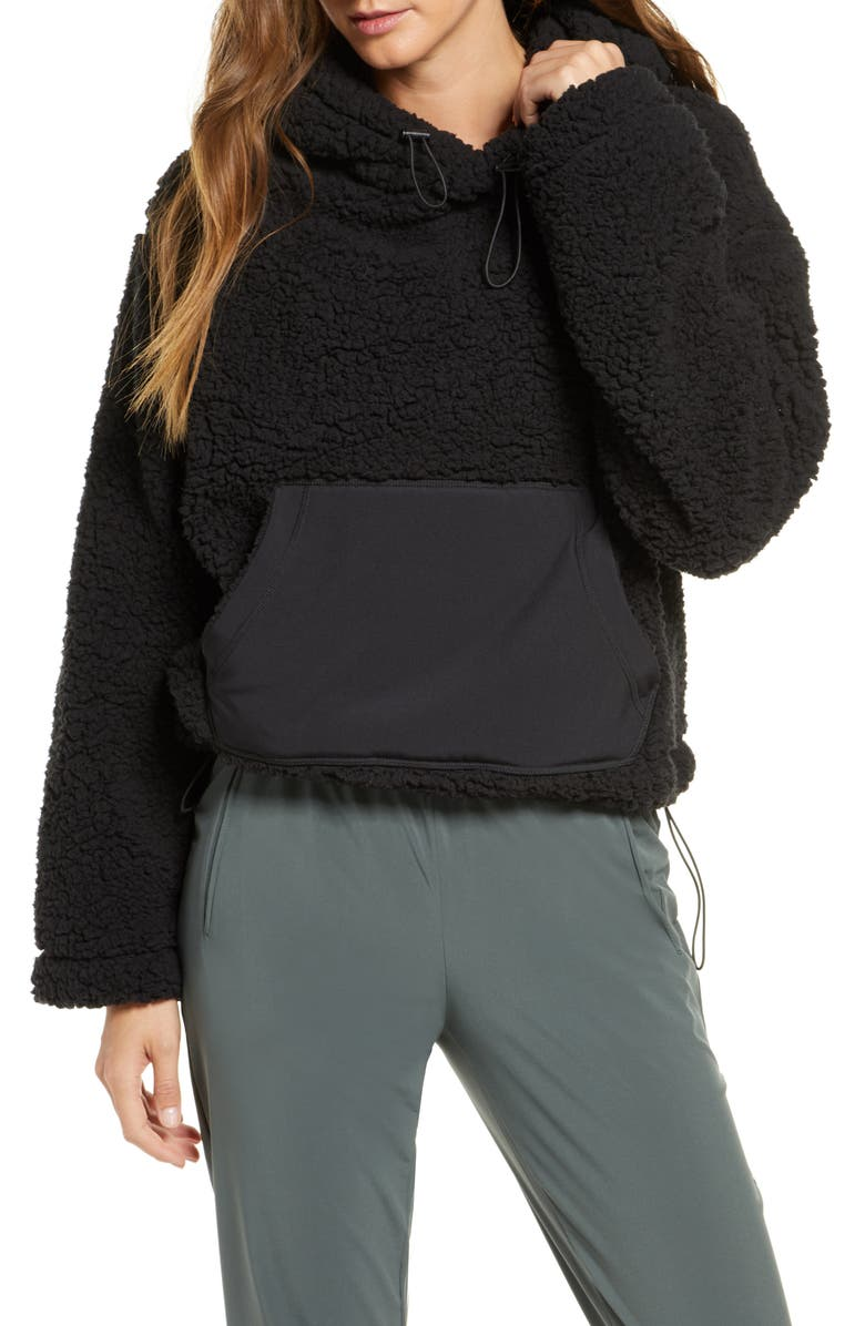 ZELLA Cassie Faux Fur Hoodie, Main, color, BLACK