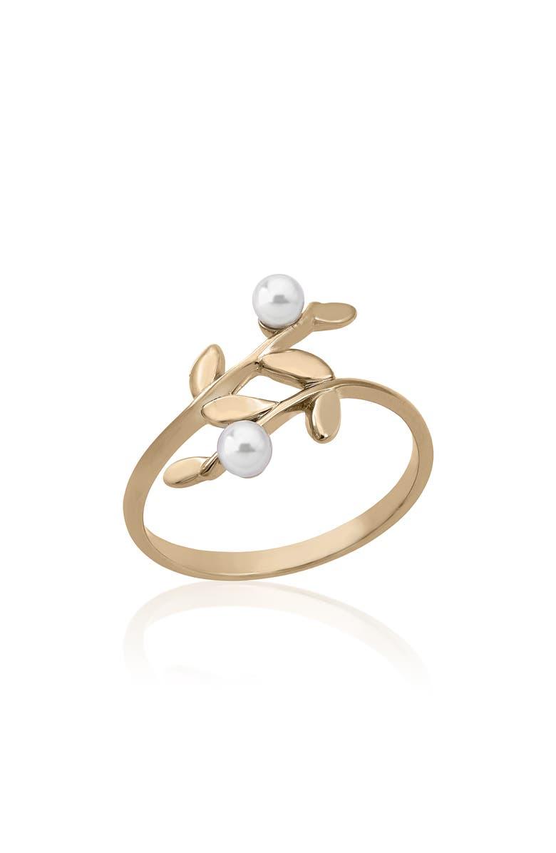 MAJORICA Simulated Pearl Wraparound Ring, Main, color, GOLD