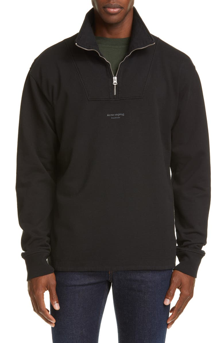 ACNE STUDIOS Faraz Stampk Quarter Zip Pullover, Main, color, BLACK