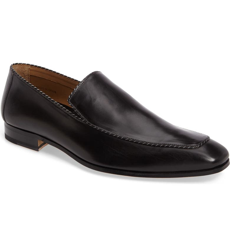 MEZLAN Brandt Venetian Loafer, Main, color, BLACK LEATHER