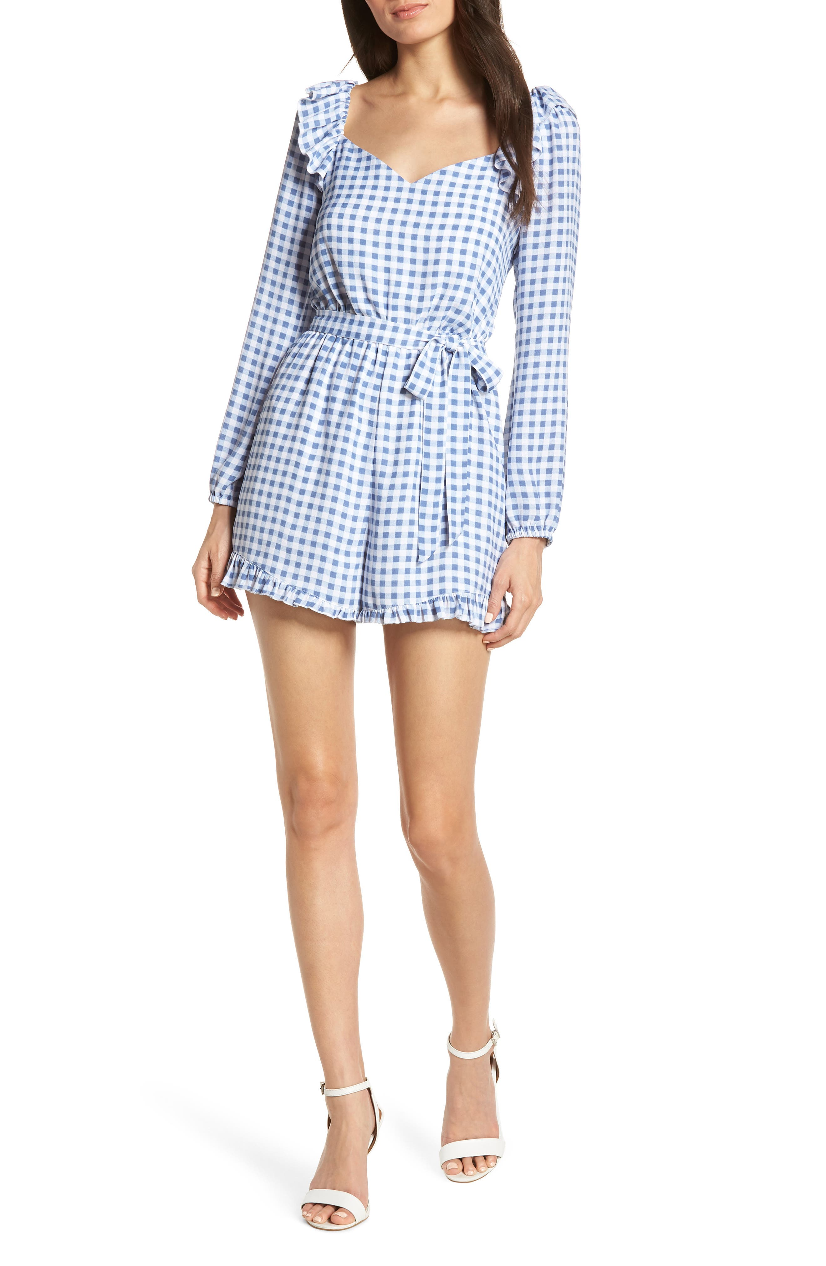 Lovely As Can Be Gingham Romper, Main, color, 400