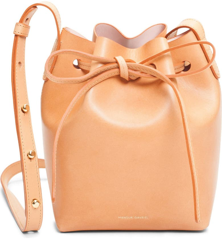 MANSUR GAVRIEL Mini Mini Leather Bucket Bag, Main, color, CAMMELLO/ ROSA