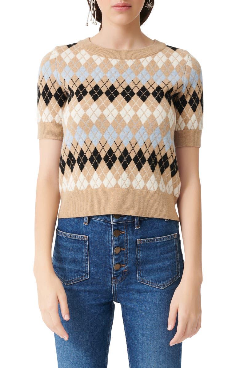 MAJE Short Sleeve Wool Blend Argyle Sweater, Main, color, CAMEL