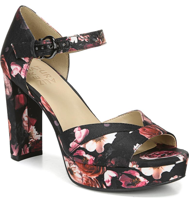 NATURALIZER Malina Platform Sandal, Main, color, BLACK FLORAL FABRIC