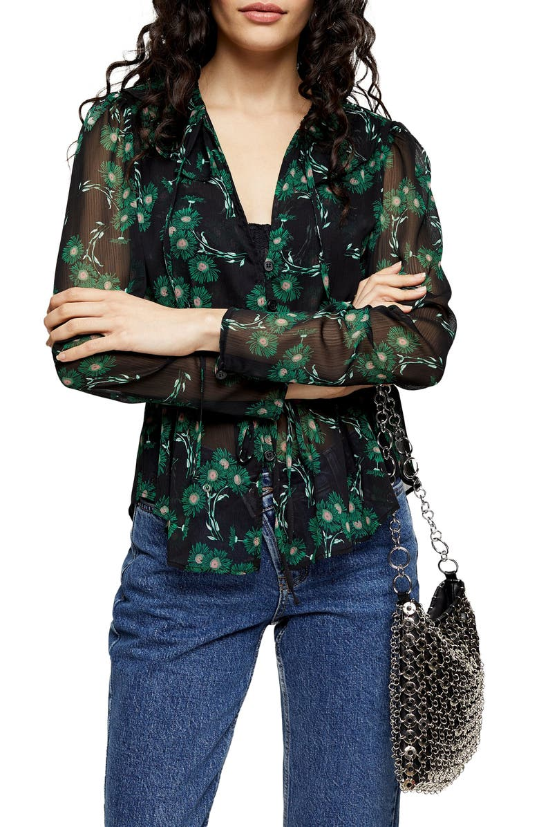 TOPSHOP Arch Daisy Blouse, Main, color, GREEN MULTI