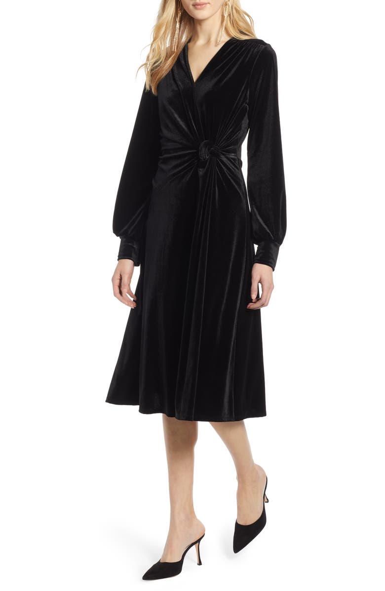 HALOGEN<SUP>®</SUP> Velvet Faux Wrap Dress, Main, color, 001