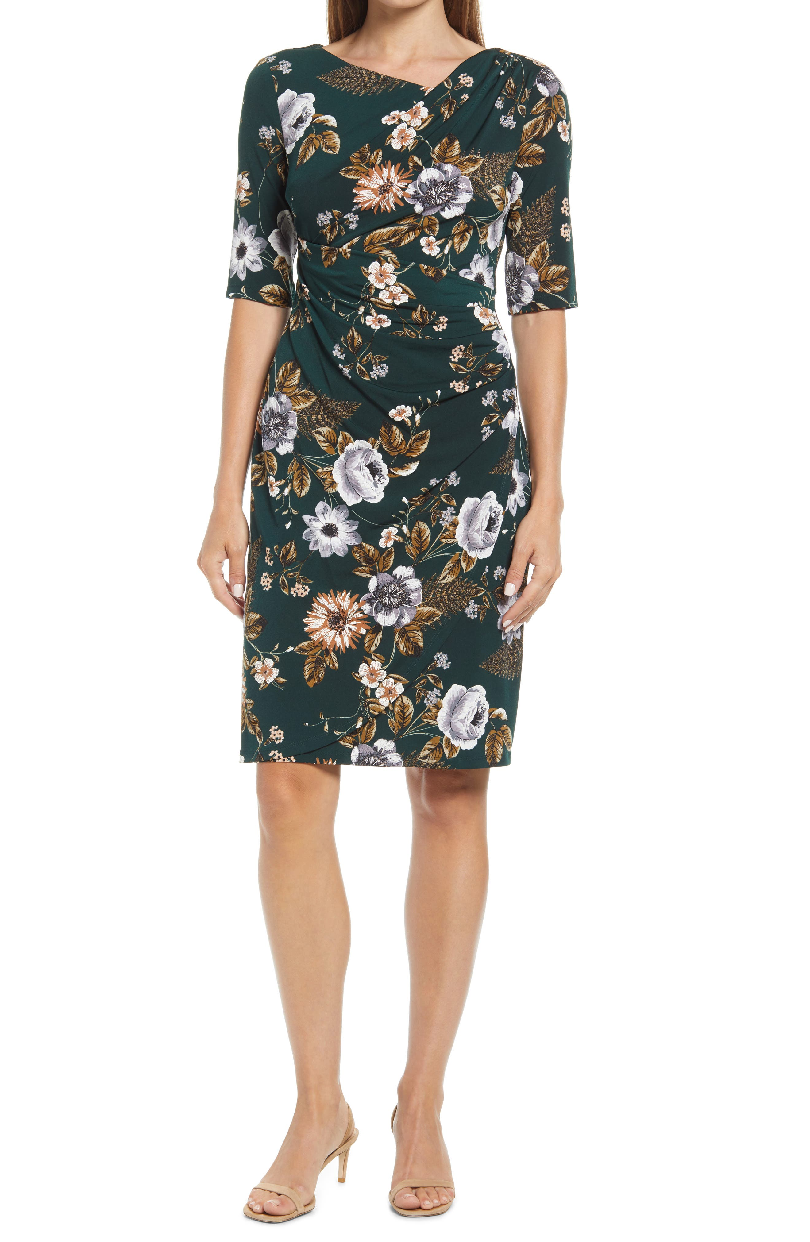 Floral Ruched Stretch Knit Dress