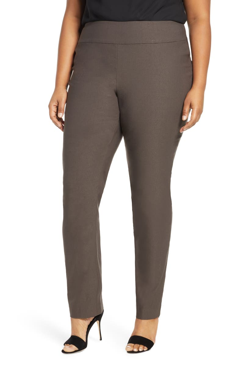 NIC+ZOE 'Wonder Stretch' High Rise Straight Leg Pants, Main, color, DARK TRUFFLE