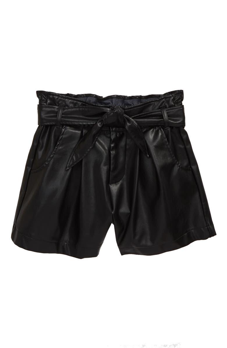 HABITUAL Sawyer Faux Leather Paperbag Waist Shorts, Main, color, BLACK