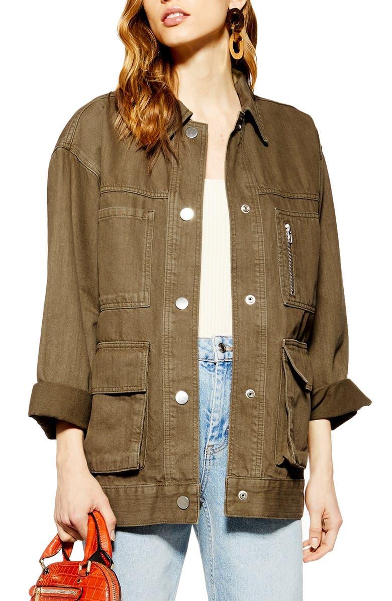 TOPSHOP Harry Oversize Shirt Jacket, Main, color, 200