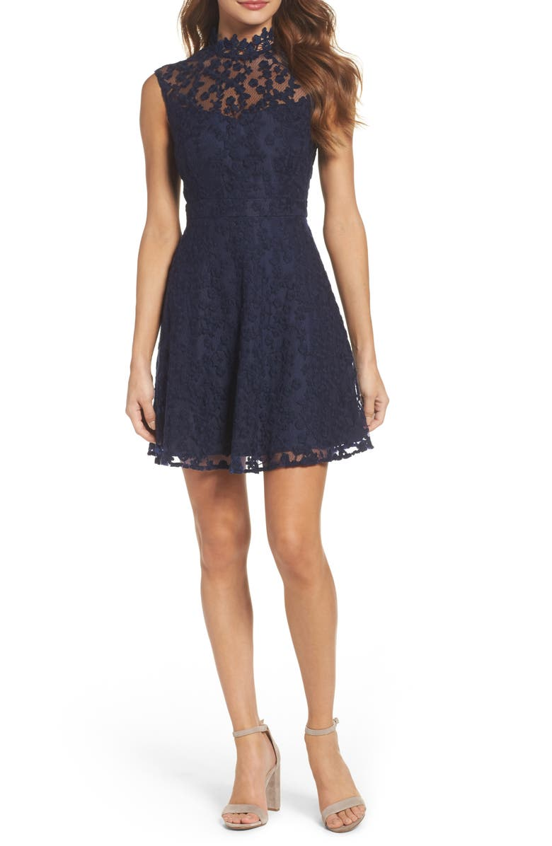 BB DAKOTA Embroidered Mesh Fit & Flare Dress, Main, color, 410